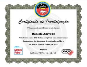 Daniela Azevedo colaborou com o OOZ Labs e completou uma missão como Comandante do simulador de condução em Marte na Lisbon Maker Faire em 2015
