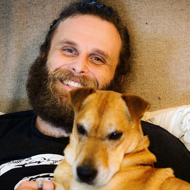 Nate Maingard and one of his dogs